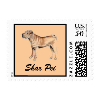 Shar Pei Dog Postage Stamp for Letters