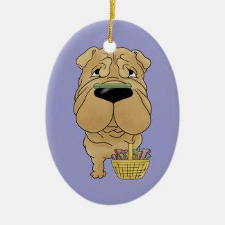Shar-Pei - Easter Bone Hunt, Anyone? Double-Sided Oval Ceramic Christmas Ornament