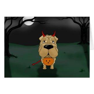 Shar-Pei Halloween Greeting Cards