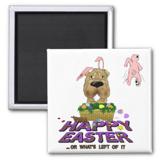 Shar-Pei Happy Easter 2 Inch Square Magnet