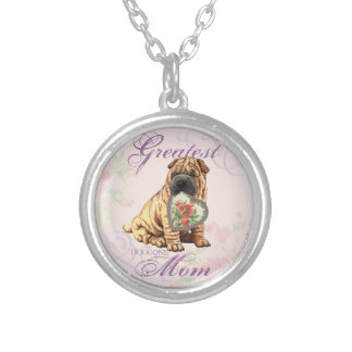 Shar-Pei Heart Mom Silver Plated Necklace