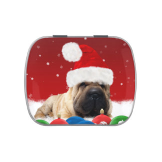 Shar Pei In Santa Hat White Jelly Belly™ Candy Tin