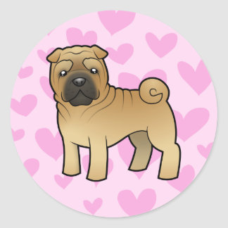 Shar Pei Love Classic Round Sticker