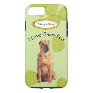 Shar-Pei on Green Leaves w/Owners Name iPhone 7 Case