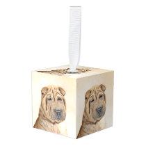 Shar Pei Painting - Cute Original Dog Art Cube Ornament