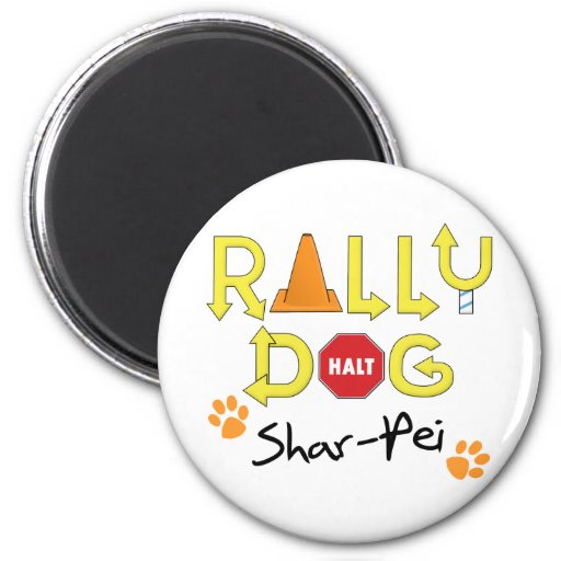 Shar-Pei Rally Dog 2 Inch Round Magnet