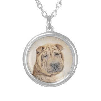 Shar Pei Silver Plated Necklace