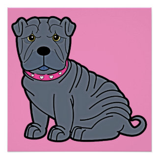 Shar-Pei with Pink Collar Poster