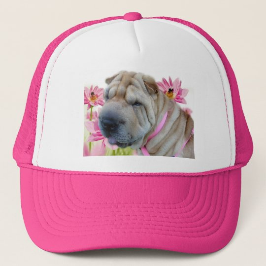 Shar-pei with pink flowers trucker hat