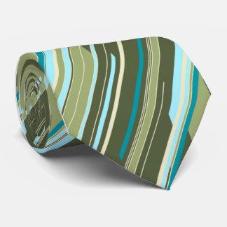 Shards Geometric Striped Green Single-sided Neck Tie