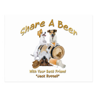 Share A Beer With Your Best Friend Jack Russell Postcard