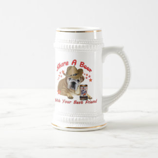 Share A Beer With Your Bulldog Friend 18 Oz Beer Stein