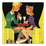 "Share a Milk Shake -Vintage  Wedding Invitation 5.25"" Square Invitation Card"