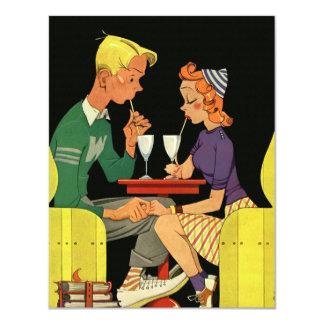 "Share a Milk Shake -Vintage  Wedding Invitation 4.25"" X 5.5"" Invitation Card"