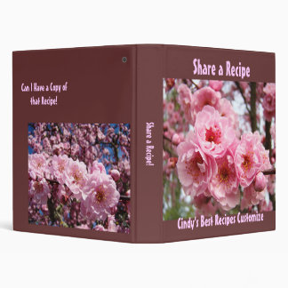 Share a Recipe! binder book Brown Pink Blossoms