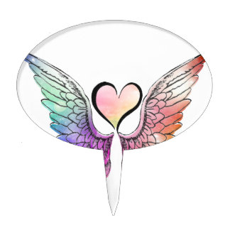 Share - Angel Wings and Heart Cake Topper