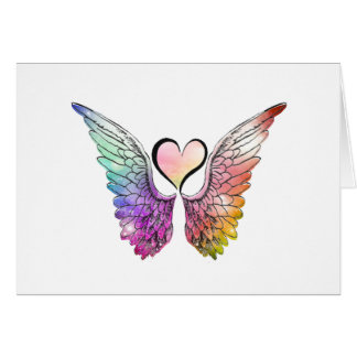 Share - Angel Wings and Heart Greeting Card
