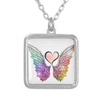 Share - Angel Wings and Heart Silver Plated Necklace