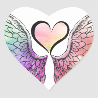 Share - Angel Wings and Heart Heart Sticker