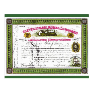 Share certificate, Indianapolis Railway Company Postcard