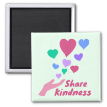 Share Kindness Colorful Hearts Magnet