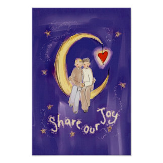 Share Our Joy Grooms on Moon Poster