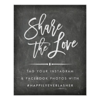 Share the Love | Chalkboard Wedding Hashtag Poster