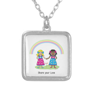 Share the Love - Equality for All Square Pendant Necklace