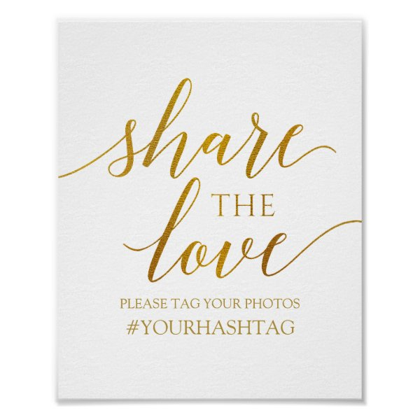 Share the Love | Romantic Calligraphy -Faux Foil Poster