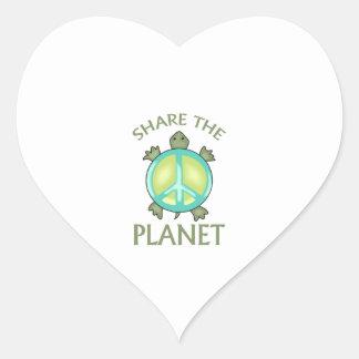 SHARE THE PLANET HEART STICKER