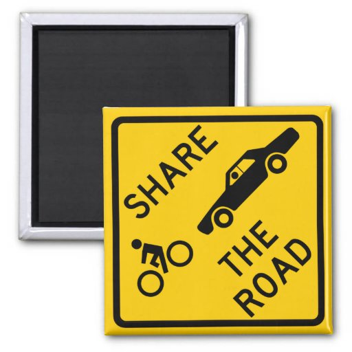 Share the Road Highway Sign 2 Inch Square Magnet