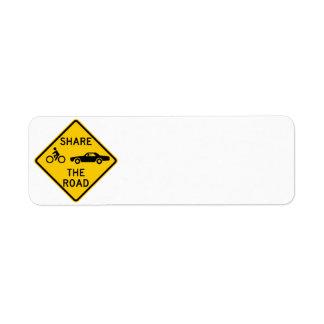 Share the Road Highway Sign Custom Return Address Label