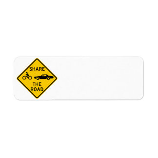 Share the Road Highway Sign Return Address Label