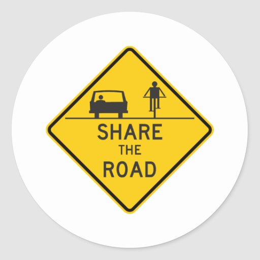 Share the Road Highway Sign Stickers