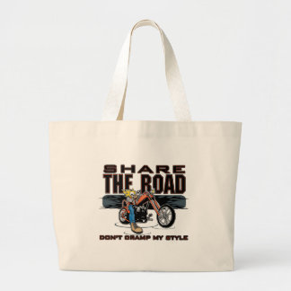 Share the Road Motorcycle Jumbo Tote Bag