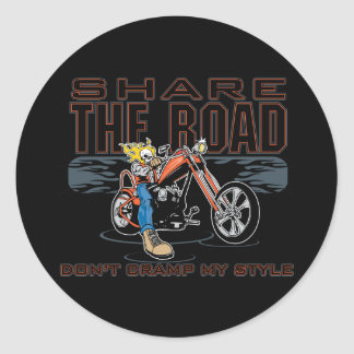 Share the Road Motorcycle Classic Round Sticker