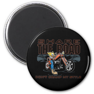Share the Road Motorcycle 2 Inch Round Magnet