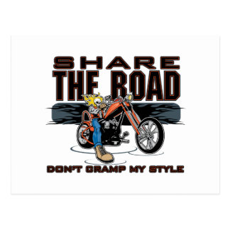 Share the Road Motorcycle Postcard