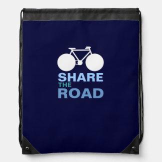 share the road drawstring backpacks