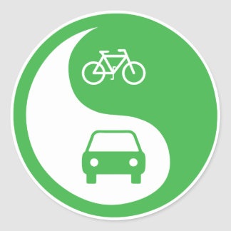 Share the Road Yin Yang Classic Round Sticker