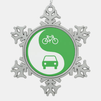 Share the Road Yin Yang Snowflake Pewter Christmas Ornament