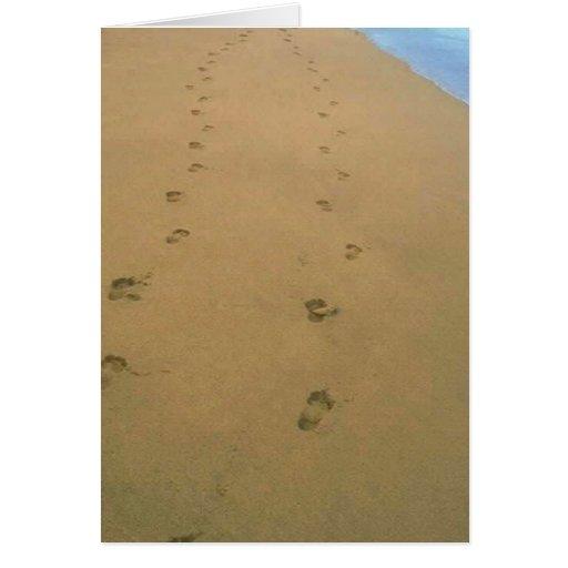 Shared Path Beach Tracks Sand Valentine's Day Card