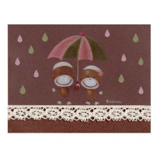 Sharing An Umbrella Postcard