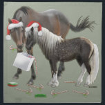 "Sharing Christmas Napkin<br><div class=""desc"">Caballo the horse and Cisco the pony checking out the goodies a shopping bag holds at Christmas.</div>"