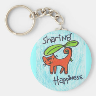 Sharing Happiness Key Ring Basic Round Button Keychain