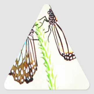 Sharing love peace and joy Blue Tiger Butterfly Triangle Sticker