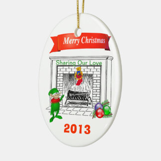 Sharing Our Love - Customizable Year Double-Sided Oval Ceramic Christmas Ornament