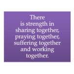 Sharing, Praying, and Working Together Postcard
