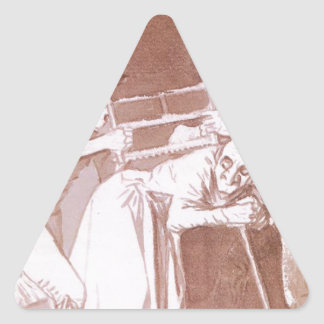 Sharing the Old Woman by Francisco Goya Triangle Sticker