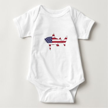 "USA Themed Shark ""American Flag"" Baby Bodysuit"